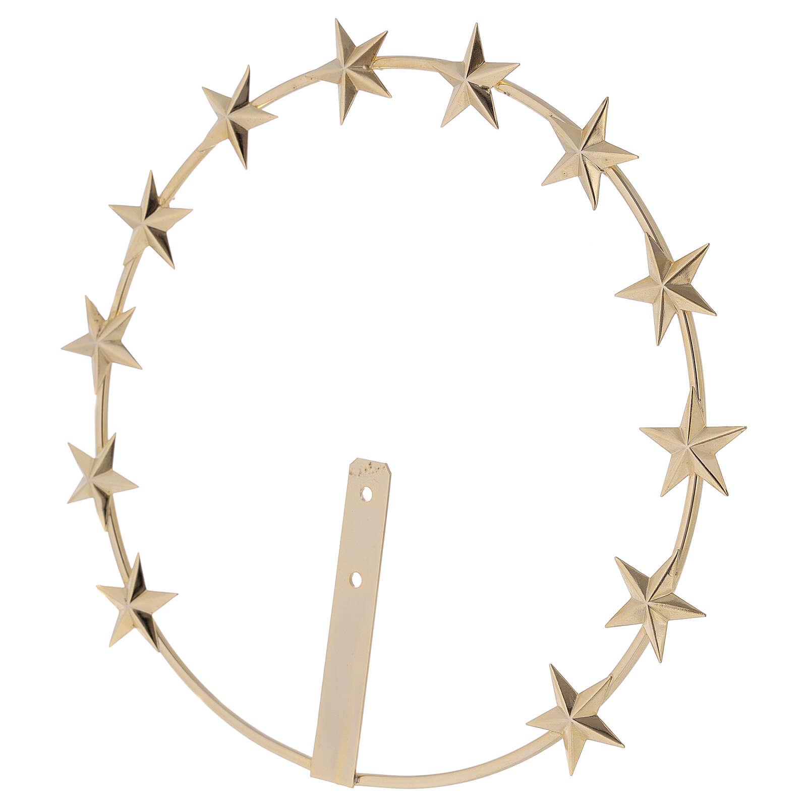 Aureola Virgen estrellas latón dorado 20 cm 3