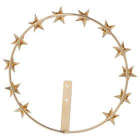 Auréole Vierge étoiles laiton doré 20 cm s4