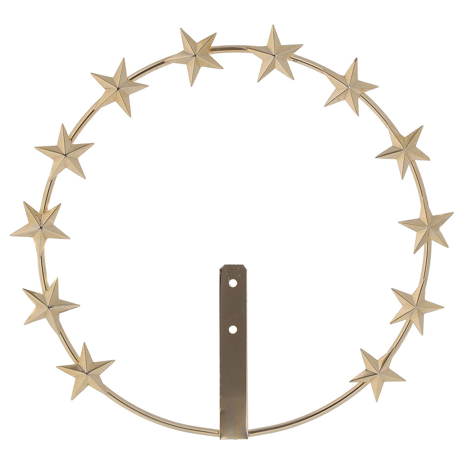 Auréola Nossa Senhora estrelas latão dourado 20 cm 3