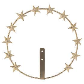 Auréola Nossa Senhora estrelas latão dourado 20 cm s1