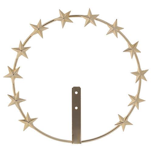 Auréola Nossa Senhora estrelas latão dourado 20 cm 1