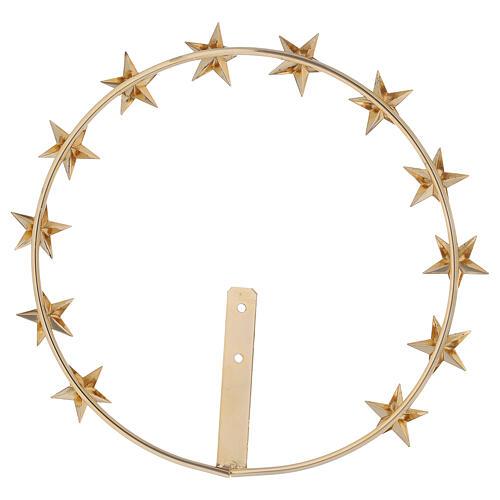 Auréola Nossa Senhora estrelas latão dourado 20 cm 4