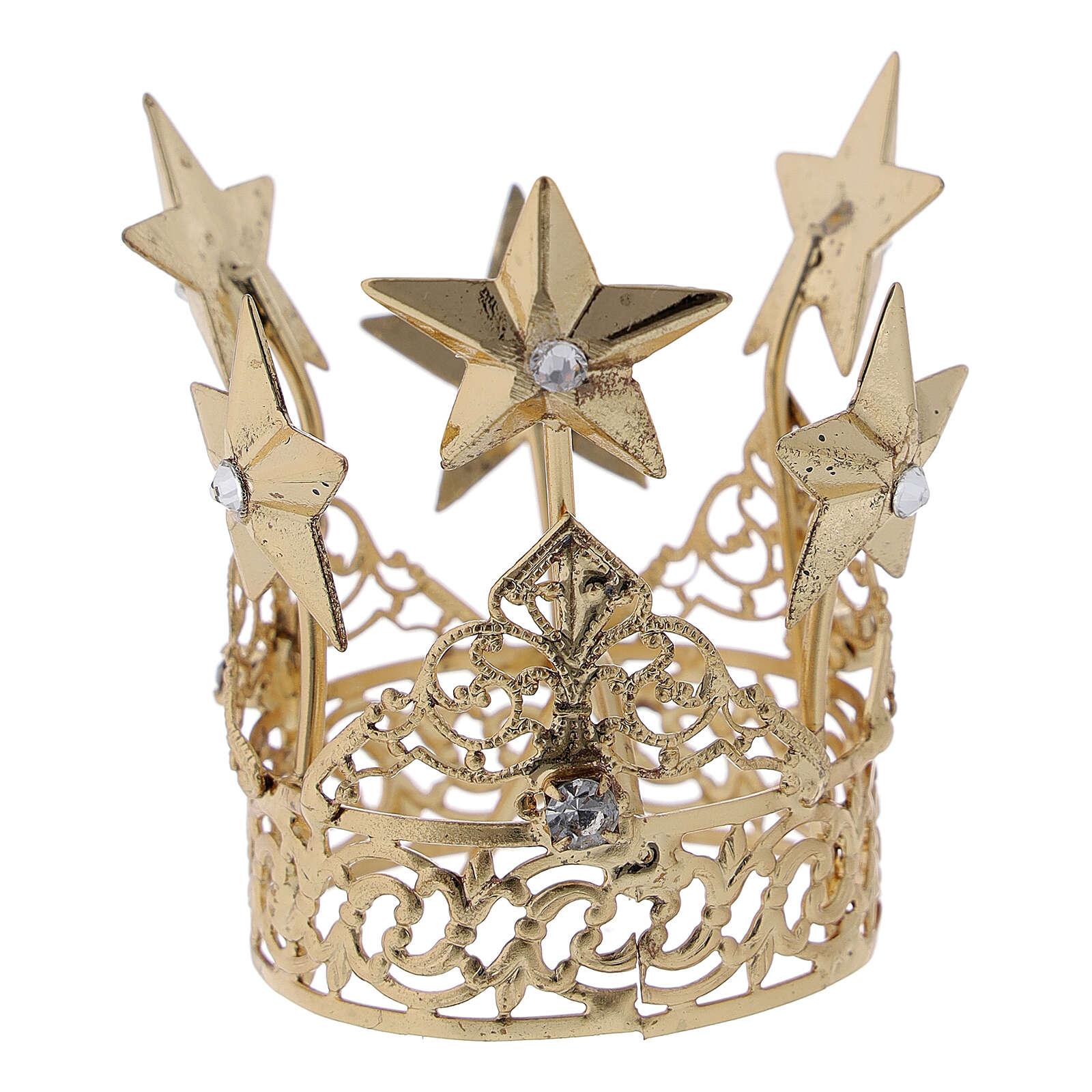 Corona para Virgen latón dorado 3 cm 3