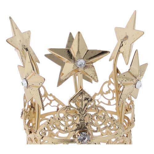 Corona para Virgen latón dorado 3 cm 2