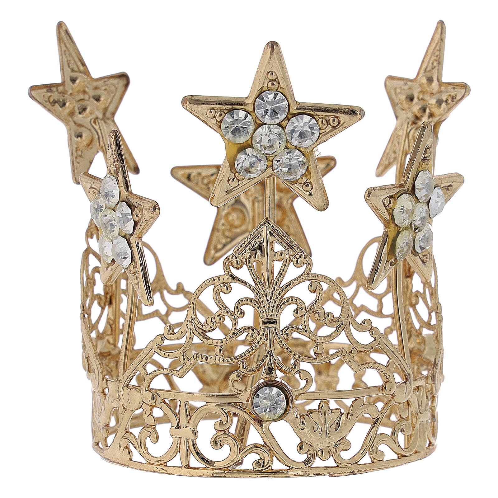 Corona con stelline per Madonna ottone dorato 5 cm 3