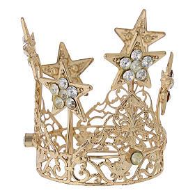 Coroa com estrelas para Nossa Senhora latão dourado 5 cm s1