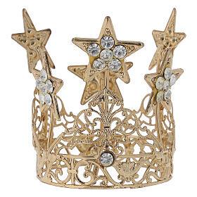 Coroa com estrelas para Nossa Senhora latão dourado 5 cm s3