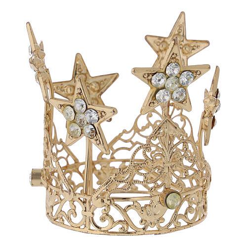 Coroa com estrelas para Nossa Senhora latão dourado 5 cm 1