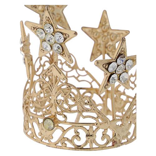 Coroa com estrelas para Nossa Senhora latão dourado 5 cm 2