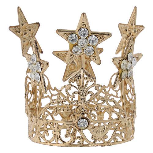 Coroa com estrelas para Nossa Senhora latão dourado 5 cm 3