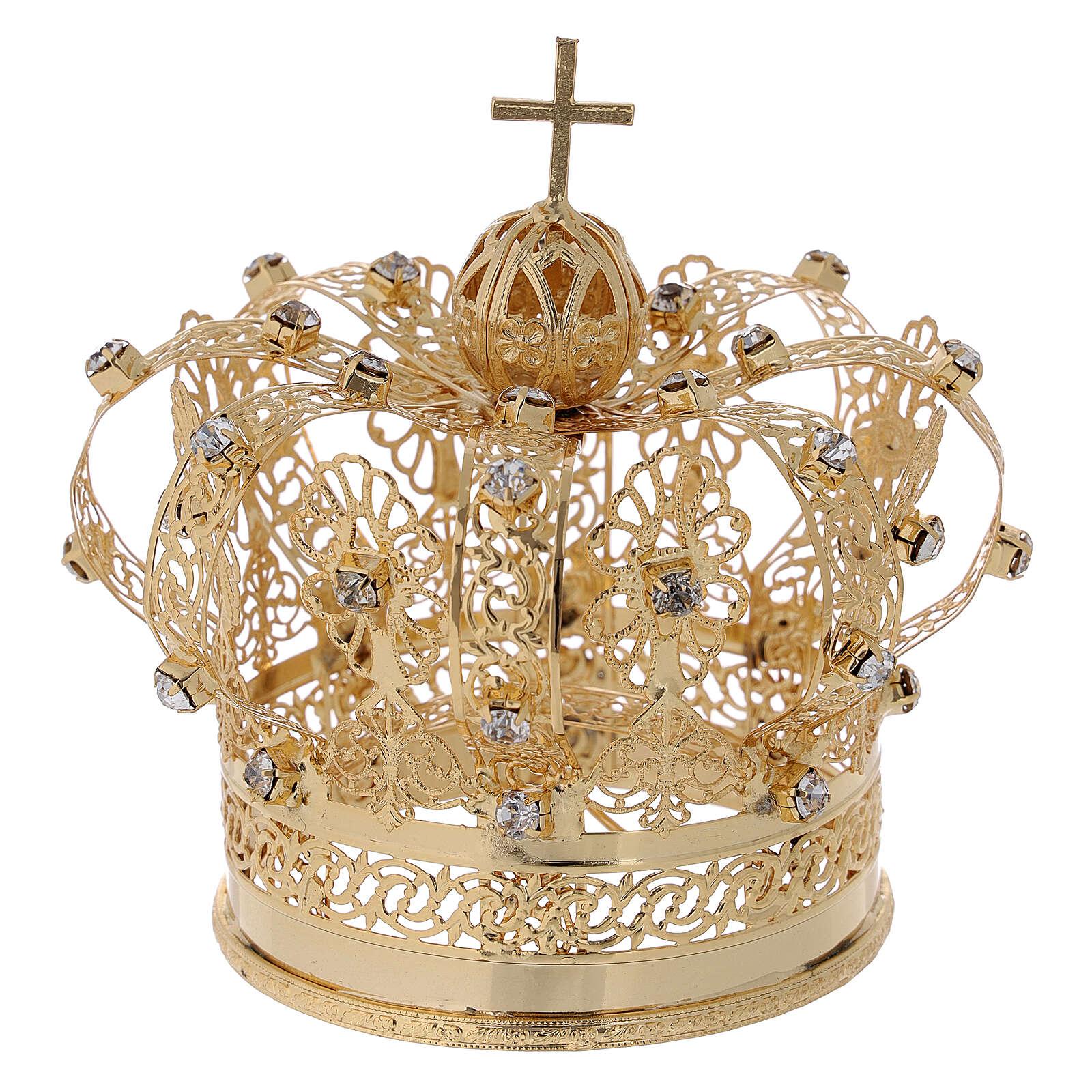 Corona real para Virgen latón dorado 8 cm 3