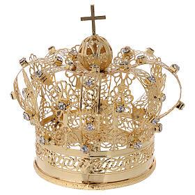 Corona real para Virgen latón dorado 8 cm s1