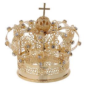 Corona real para Virgen latón dorado 8 cm s4