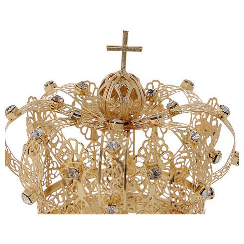 Corona real para Virgen latón dorado 8 cm 2