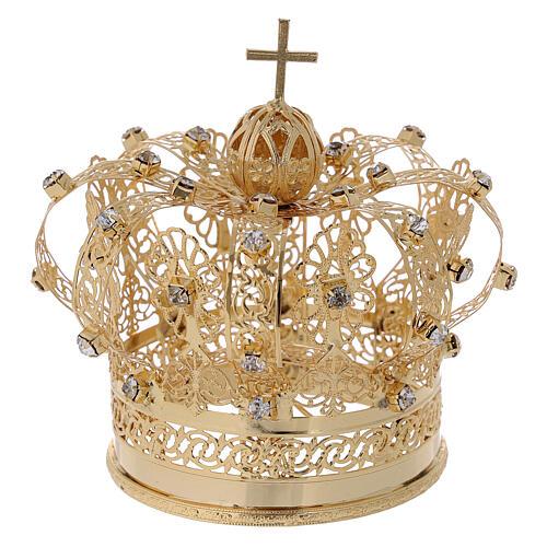 Corona real para Virgen latón dorado 8 cm 4