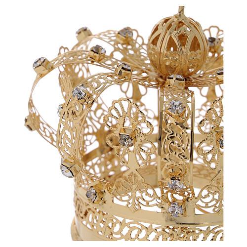 Corona regale per Madonna ottone dorato 8 cm 3
