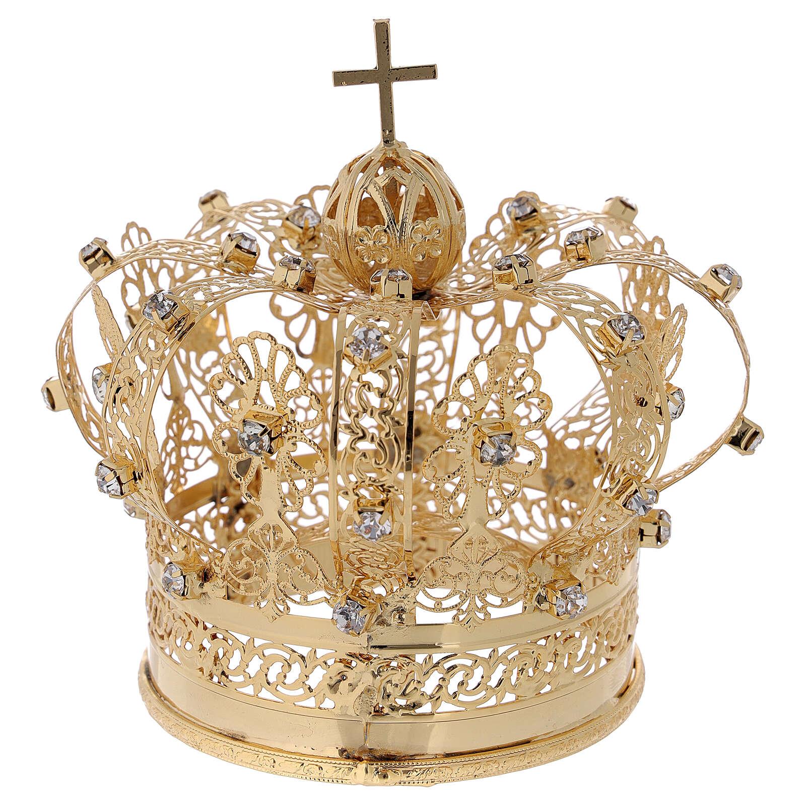STOCK Coroa real para Nossa Senhora latão dourado 8 cm 3