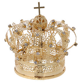 STOCK Coroa real para Nossa Senhora latão dourado 8 cm s1