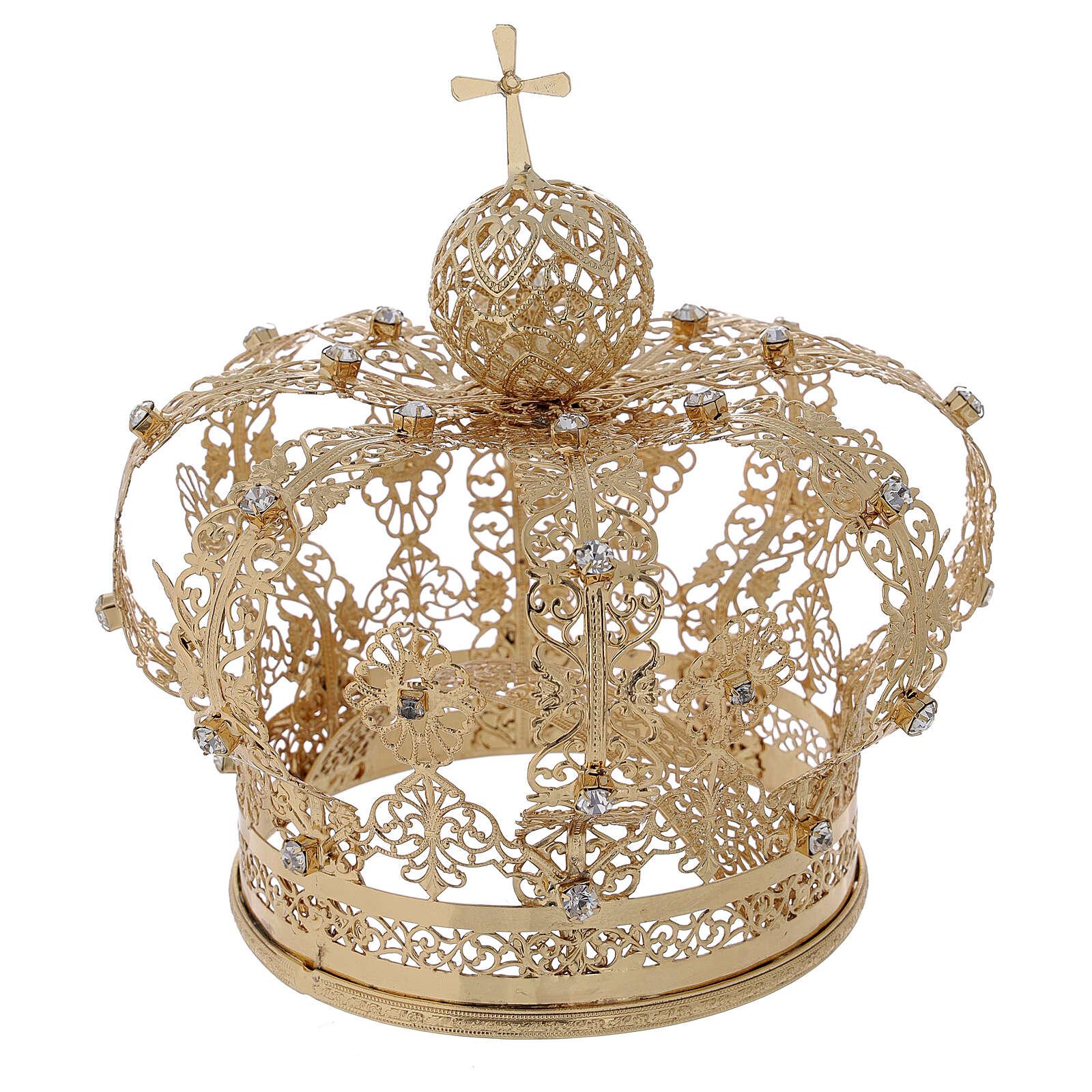 Couronne royale pour Vierge laiton doré 12 cm 3