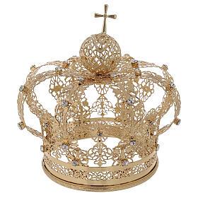Couronne royale pour Vierge laiton doré 12 cm s1
