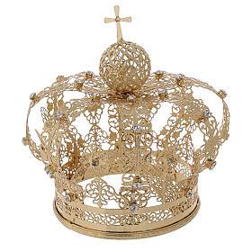 Couronne royale pour Vierge laiton doré 12 cm s4