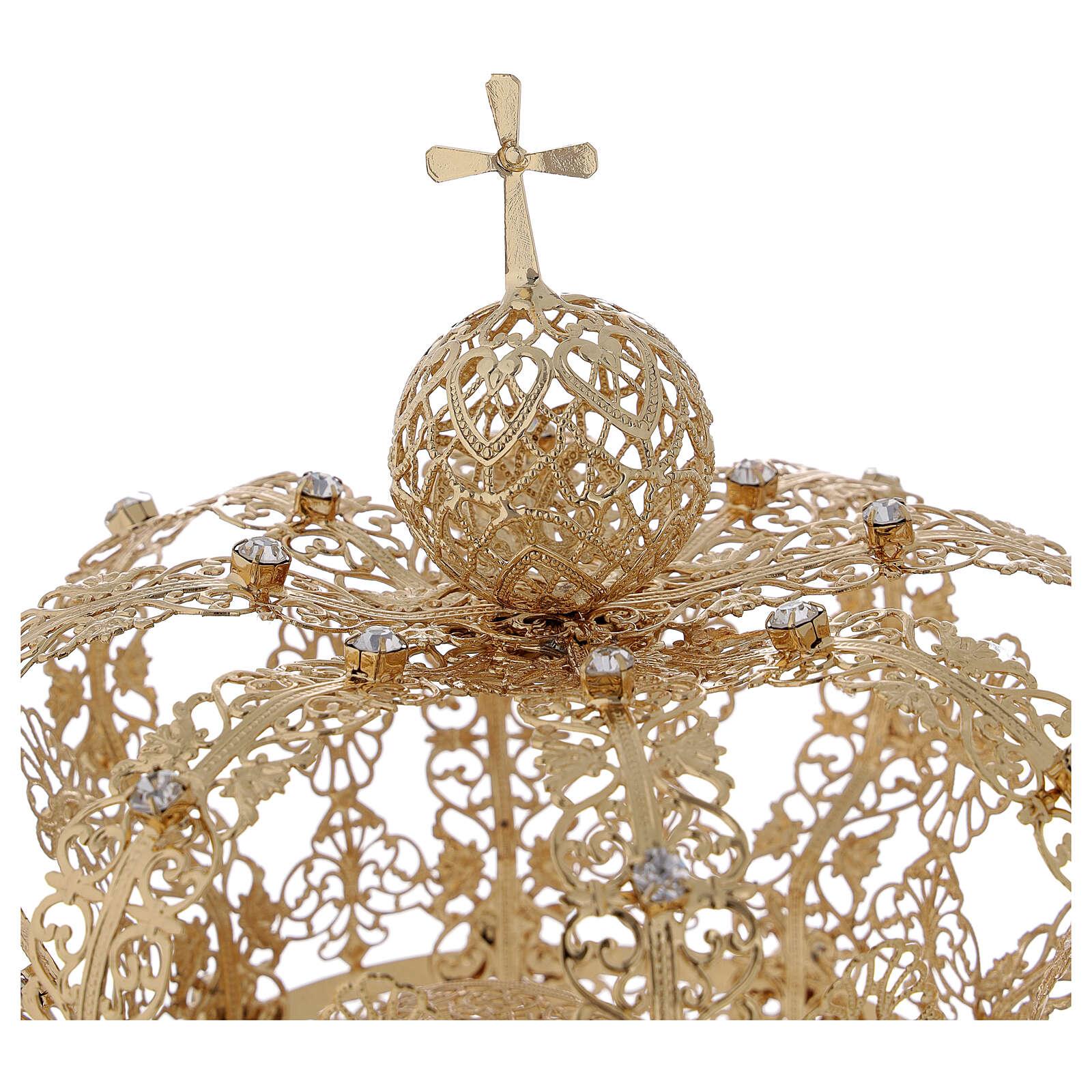 Corona regale per Madonna ottone dorato 12 cm 3