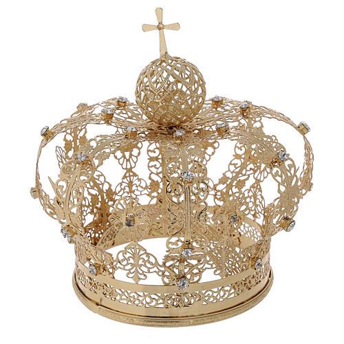 Corona regale per Madonna ottone dorato 12 cm 4