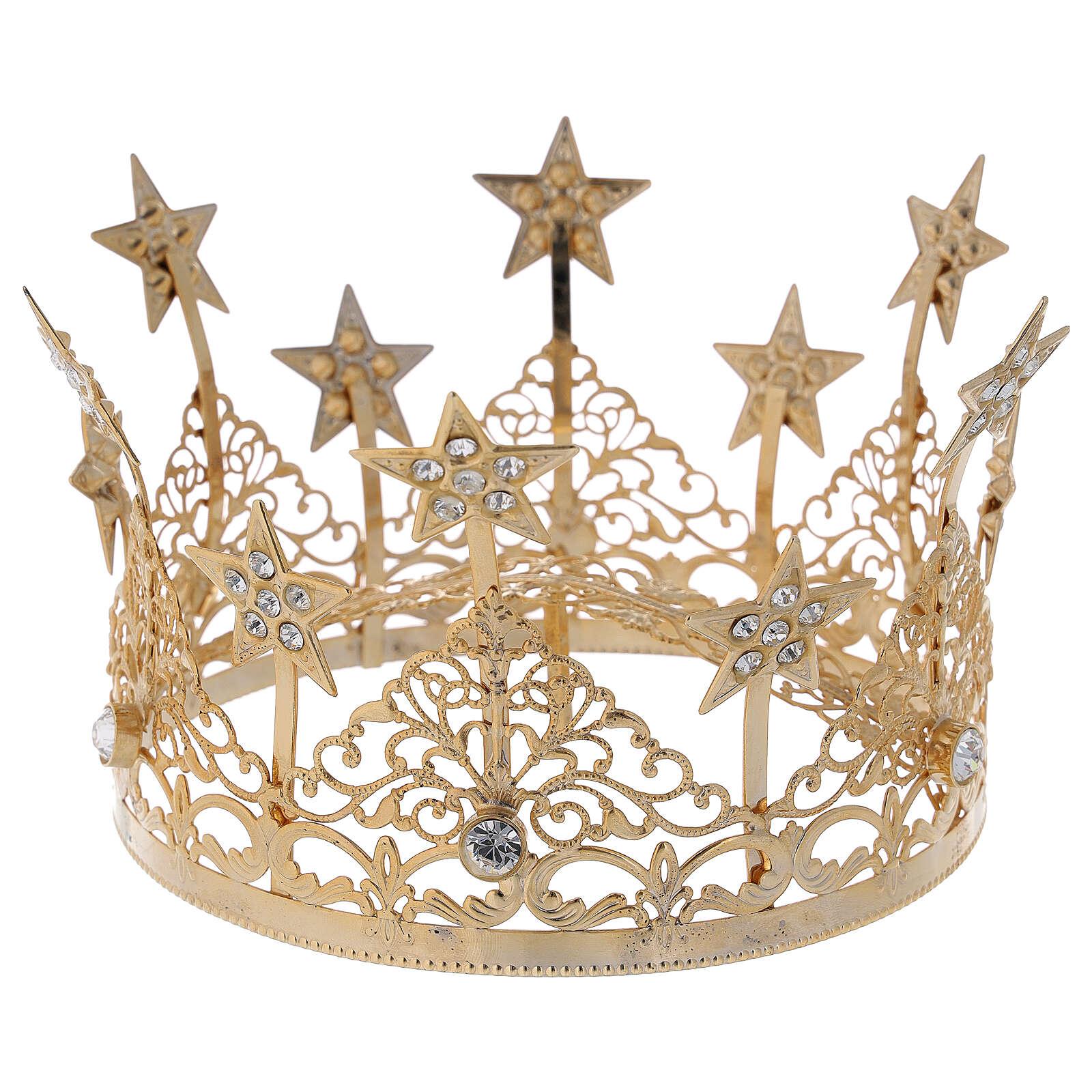 STOCK Corona estrellas y gemas para Virgen latón dorado 14 cm 3