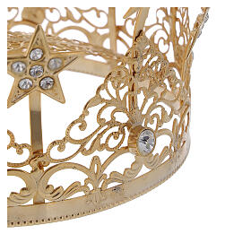 STOCK Corona estrellas y gemas para Virgen latón dorado 14 cm s3