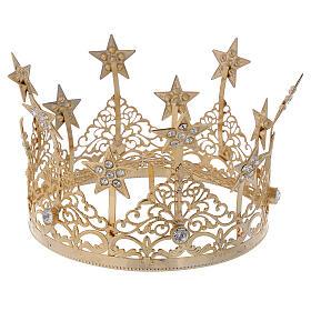 STOCK Corona estrellas y gemas para Virgen latón dorado 14 cm s4