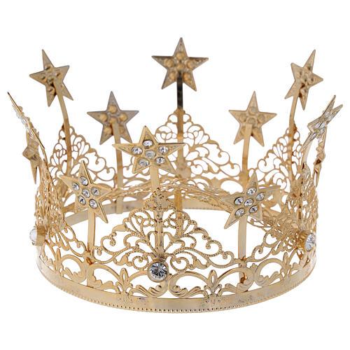 STOCK Corona estrellas y gemas para Virgen latón dorado 14 cm 1