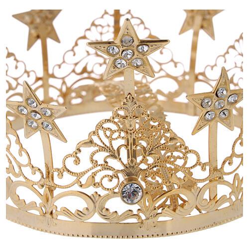 STOCK Corona estrellas y gemas para Virgen latón dorado 14 cm 2