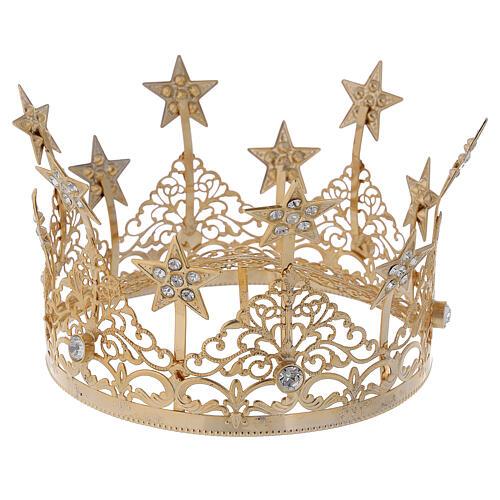 STOCK Corona estrellas y gemas para Virgen latón dorado 14 cm 4