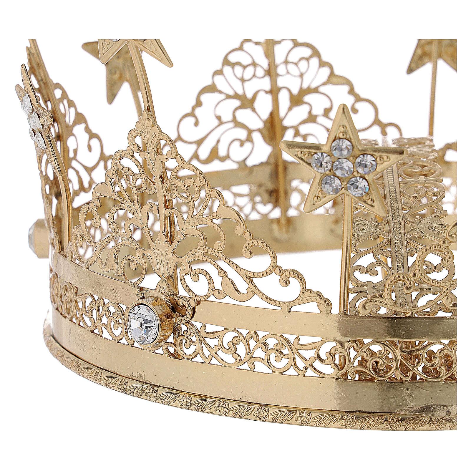 STOCK Coroa para Santo latão dourado 16 cm 3