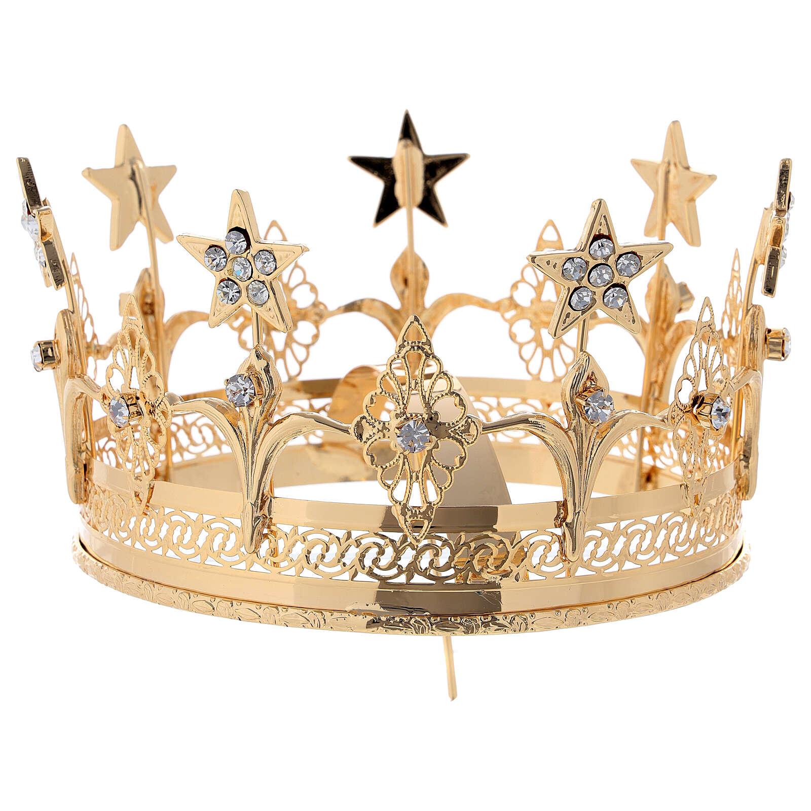 Corona para Santos latón dorado 14 cm 3