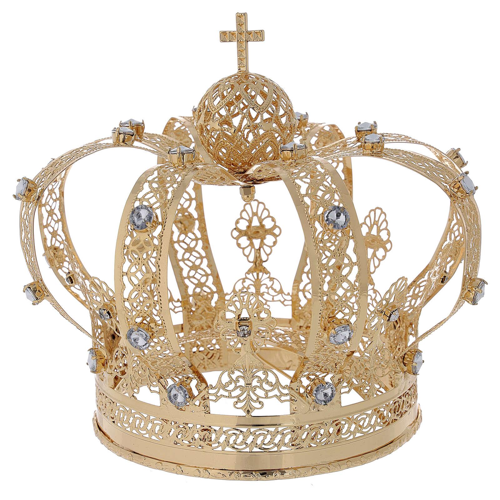 Corona Per Santi ottone dorato 14 cm 3