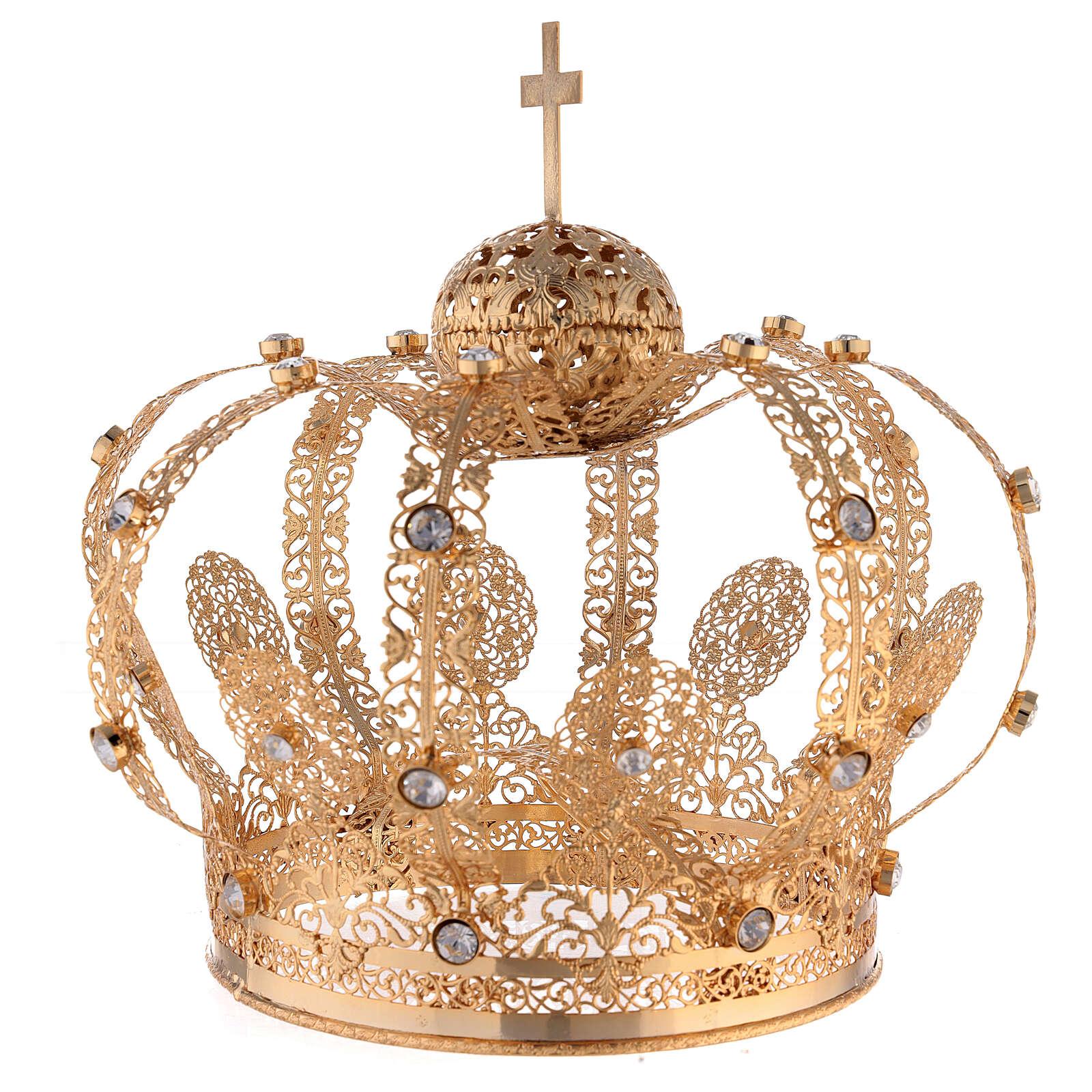 Corona Latón dorado para Santo con gemas blancas 18 cm 3