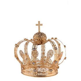 Corona Latón dorado para Santo con gemas blancas 18 cm s1