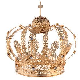 Corona Latón dorado para Santo con gemas blancas 18 cm s3
