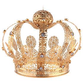 Corona Latón dorado para Santo con gemas blancas 18 cm s4
