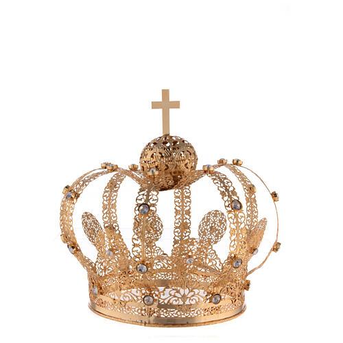 Corona Latón dorado para Santo con gemas blancas 18 cm 1