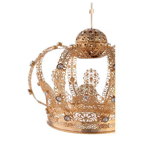 Corona Latón dorado para Santo con gemas blancas 18 cm 2