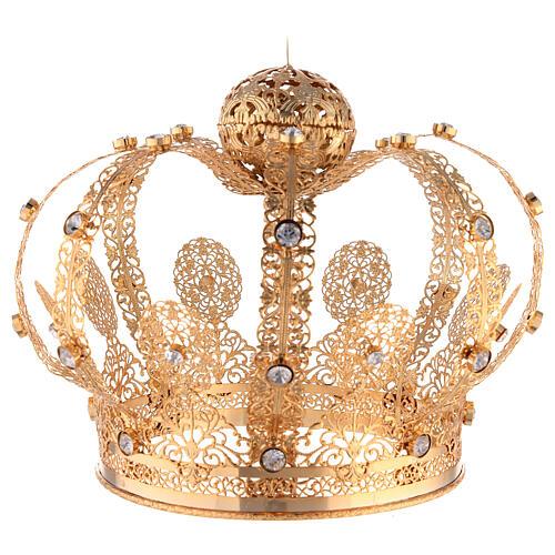 Corona Latón dorado para Santo con gemas blancas 18 cm 4