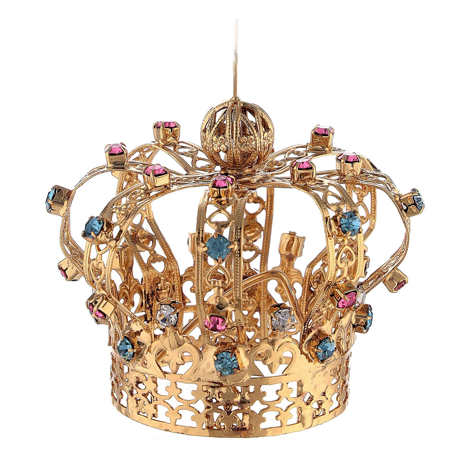 Corona Latón dorado para Santo con gemas coloreadas 4 cm 3