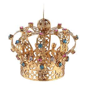 Corona Latón dorado para Santo con gemas coloreadas 4 cm s3