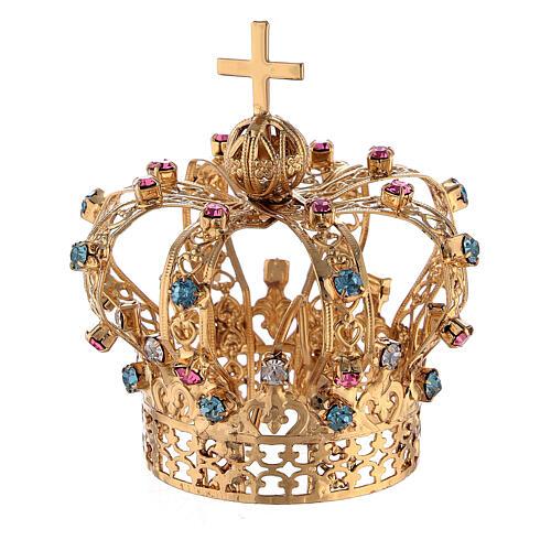 Corona Latón dorado para Santo con gemas coloreadas 4 cm 1