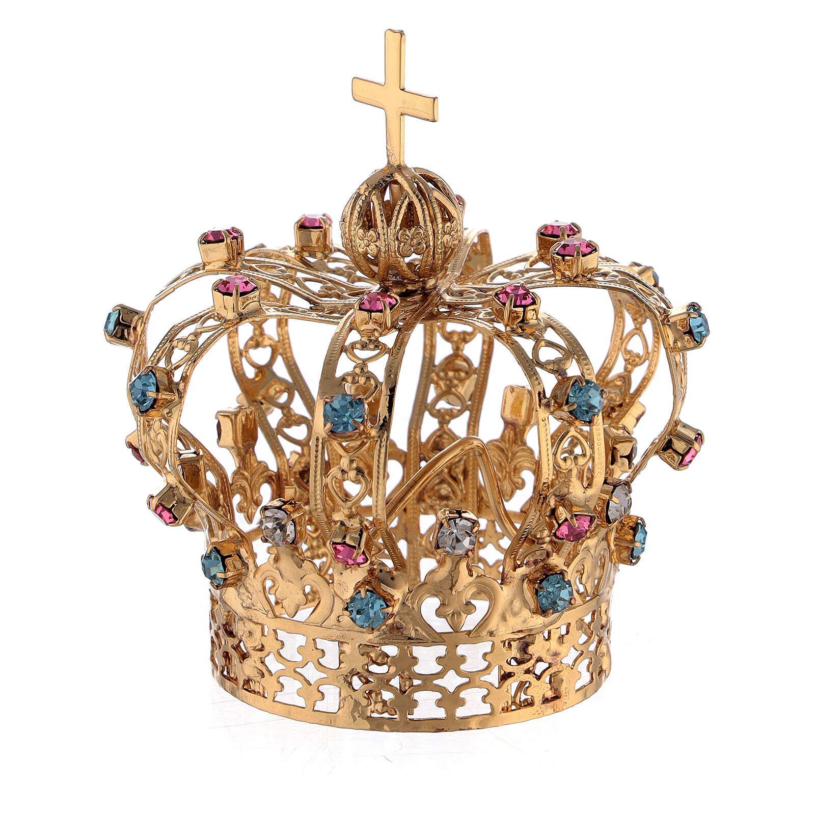 Corona Ottone dorato per Santo con gemme colorate 4 cm 3