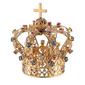 Corona Ottone dorato per Santo con gemme colorate 4 cm s1