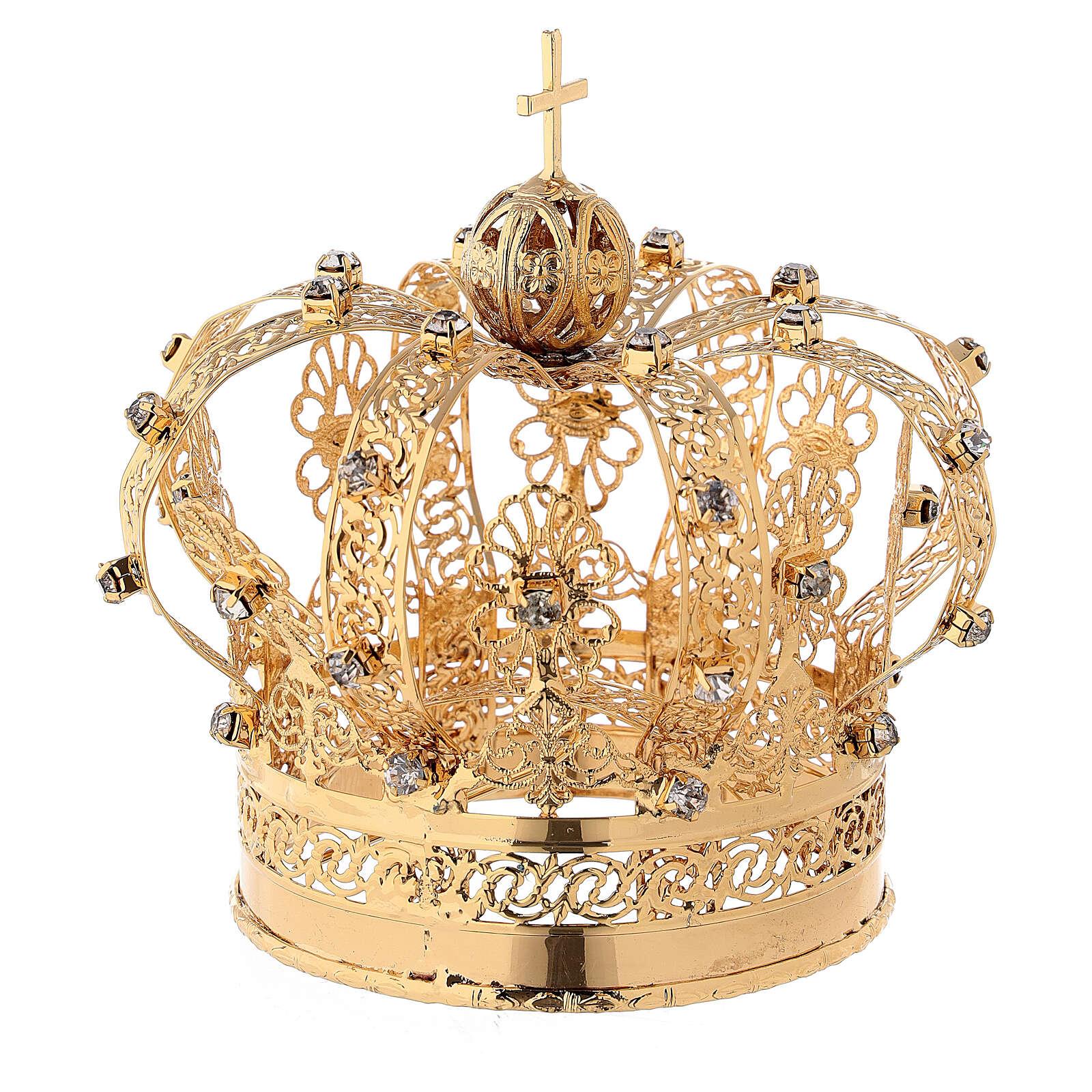 Corona Madonna ottone dorato diam 9 cm 3