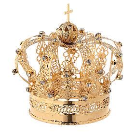 Corona Madonna ottone dorato diam 9 cm s3